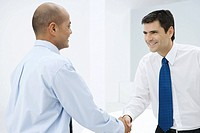 Two businessmen shaking hands, smiling