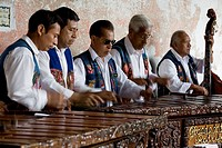 Musicians playing the marimba, Antigua Guatemala, Sacatepequez department, Guatemala