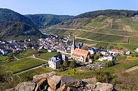 View of Mayschoss, vinyards, Ahrtal Valley, Eifel Range, Rhineland_Palatinate, Germany, Europe