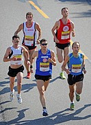 Leading group, Half-marathon, with winner Martin Beckmann, Germany, starting number 4002, Stuttgart, Baden-Wuerttemberg, Germany, Europe, 22.06.2008