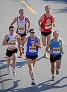 Leading group, Half-marathon, with winner Martin Beckmann, Germany, starting number 4002, Stuttgart, Baden-Wuerttemberg, Germany, Europe, 22.06.2008