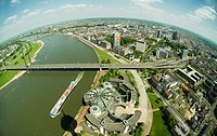 View of Duesseldorf from the Rheinturm Tower, foreground the building of the legislative assembly of North Rhine_Westphalia, Rhine River separates the...