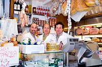 Salesmen in a delicatessen, Venice, Venezia, Italy, Europe