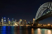 Sydney harbour bridge and skyline at night
