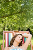 Woman asleep in deckchair