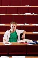 Male student in lecture theatre