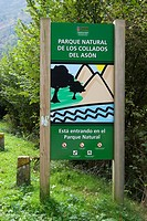 Parque Natural de los Collados del Asón, natural park, sign along the road. Cantabria, Spain