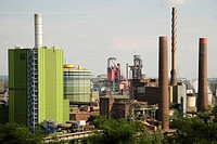 STEAG coal-fired power station as seen from Alsumer Berg, ThyssenKrupp, Duisburg, Germany