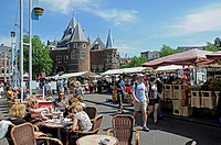 De Waag, weighing house, Nieuw Markt, new market, café, restaurant, weekly market, Amsterdam, Holland, Netherlands, Europe