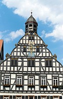 City hall, built 1559, half-timbered houses, Butzbach, Hesse, Germany, Europe