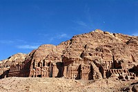 King's Wall, tombs carved out of the cliff in the ancient Nabataean rock city of Petra, Jordan, Middle East, Asia