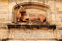 Stone ox sculpture on the old Schlachthaus, butchery in Bamberg, Upper Franconia, Bavaria, Germany, Europe