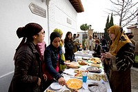 Cakes and desserts served after the Friday prayers outside the Mezquita Grande Mosque, El Albayzín or Albaicín quarter of Granada, Andalusia, Spain