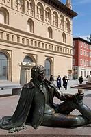 Bronze statue, Goya, La Lonja, stock exchange, Plaza del Pilar, Zaragoza, Saragossa, Expo city 2008, Province of Aragon, Spain, Europe