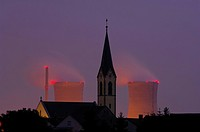 Grafenrheinfeld Nuclear Power Plant behind the church steeple of Roethlein, Lower Franconia, Bavaria, Germany, Europe