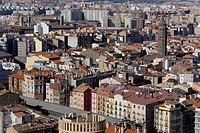 View over the roofs, rooftops of Saragossa or Zaragoza, Aragon, Spain, Europe