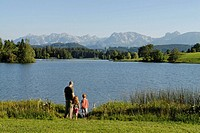 Schwaltenweiher Pond near Seeg, Ostallgaeu, Swabia, Bavaria, Germany, Europe