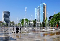 Trick fountains on the Square of Nations, Place des Nationen in Geneva, ITU Headquarters (left), WIPO, UPOV buildings on the right, Geneva, Switzerlan...