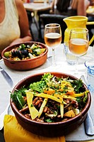 Mediterranean salad served at a Provencal restaurant, South of France
