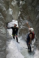 Canyoning, canyoneering in Bruckgraben in Gesaeuse National Park, Styria, Austria, Europe