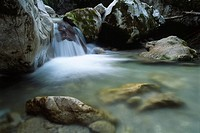 Small waterfalls in Kaiserbach stream, Kaiser Range, North Tirol, Austria, Europe