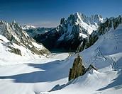Mt. Aiguille Verte, Mer de Glace Glacier, Mont Blanc Group, Savoy Alps, Chamonix, France, Europe