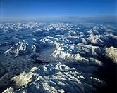Aerial shot, Mt. Hochkoenig and the Steinernes Meer karst high plateau, Berchtesgaden Alps, Salzburger Land, Austria, Europe