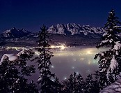 Panoramic view of the Wetterstein Range at night, Isartal (Isar Valley), Wallgau, Upper Bavaria, Bavaria, Germany, Europe