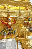Statues of mythical creatures, Wat Phra Kaew, Grand Palace, Bangkok, Thailand