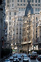 Gran Via, a busy avenue in Madrid, Spain.