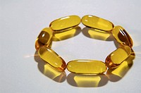 Fish oil capsules in circle