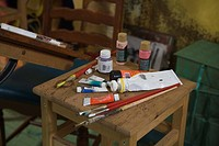 Art supplies on table