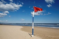 red flag on Gandia beach, Gandia, Valencia, Comunidad Valenciana, Spain, Europe