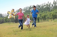 Chinese Families Flying Kites Outdoors,Beijing,China