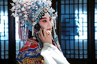 Beijing Opera Actress Using Phone,China