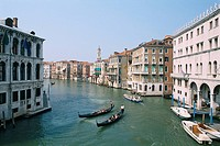 Italy _ Venice _ traditional gondolas on the Grand Canal