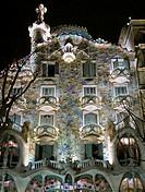 Casa Batlló. Illa de la Discordia. (Antoni Gaudi). Barcelona (Catalunya) Spain. Casa Batlló is a building restored by Antoni Gaudí and Josep Maria Juj...