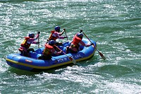 Rafters in paddleboat in white water rafting , Devprayag to Rishikesh , Uttaranchal , India