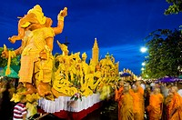 Procession of wax floats at stret feslival, Ubon Ratchathani, Thailand