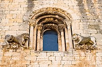 Church facade in medieval Besalu village, Girona, Catalunya, Spain