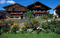 Flowers blooming in lawn in front of houses, Bavaria, Germany