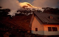 Whymper Cabin and the peak of Mt. Chimborazo, Ecuador, South America