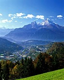 View of Mt. Watzmann in autumn with view of the town of Berchtesgaden, Berchtesgadener Land region, Upper Bavaria, Bavaria, Germany, Europe