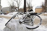 Bicycle in the snow, Québec City, Québec, Canada