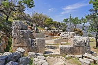 Temple ruins dating to the fifth century BC Doric period in Lato, Crete, Greece, Europe