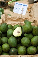 Avocados for sale at an indoor market in Funchal, Madeira, Portugal, Europe