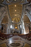 Nave and high altar, interior of St. Peter´s Basilica, Rome, Italy, Europe