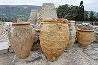 Large clay vessels used for storing food and oil in the Palace of Knossos, Crete, Greece, Europe
