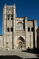 Main front of cathedral, Avila. Castilla-Leon, Spain