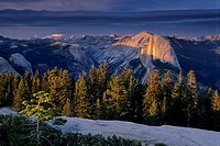 Alpenglow on clouds above Half Dome and Tenaya Canyon, from atop Sentinel Dome, Yosemite National Park, CALIFORNIA